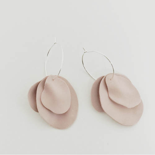 Polymer Clay Handcrafted Petal Hoops in Dusky Rose Colour